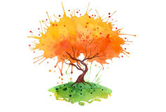 Orange tree watercolor background. Tree watercolor colorful background vector illustration
