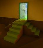 Orange Treppenhaustür der Dunkelheit drei Stockfotos