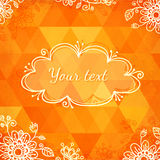 Orange triangles with doodle flowers Stock Image
