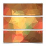 Orange Triangular Polygonal banners set. Abstract Orange Triangular Polygonal banners set Royalty Free Stock Photos