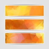 Orange Triangular Polygonal banners set Stock Photos