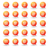 Orange Triangular Sale Labels Set, Eps10 Vector Stock Photo