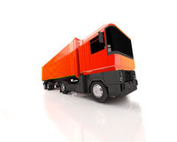Orange truck. An red orange truck with reflection, transport and business stock illustration