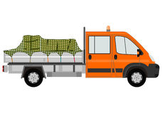 Orange truck with cargo. Royalty Free Stock Photo