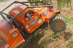 Orange truck in difficult terrain. Stock Photo