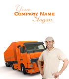 Orange Truck driver Royalty Free Stock Photography