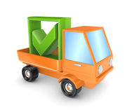 Orange truck with a green tick mark. Stock Photos