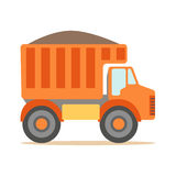 Orange Truck Loaded With Gravel , Part Of Roadworks And Construction Site Series Of Vector Illustrations. Flat Cartoon Drawings With Professional City Streets Stock Images