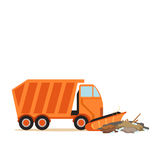 Orange truck plowing garbage, waste recycling and utilization concept vector Illustration Stock Image