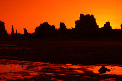 Orange Tufa's. Mono Lake Tufas at 4am sunrise. (Tufas are not cactus. It is an unusual limestone that forms under water in this very salty lake Royalty Free Stock Image