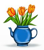 Orange tulips. Orange  tulips in a blue teapot Stock Photography
