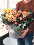 Orange Tulips in Gray Plant Pot royalty free stock photo