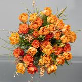Orange tulips, roses, broom in spring flowers bouquet. Image in square. Royalty Free Stock Photo