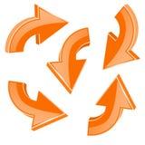 Orange turning arrows. 3d shiny icons set. Vector illustration isolated on white background Royalty Free Stock Photos