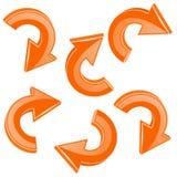 Orange turning arrows. 3d shiny icons set. Vector illustration isolated on white background Royalty Free Stock Images