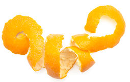 Orange twist of citrus peel. On white background stock photography