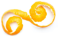 Orange twist of citrus peel. On white background royalty free stock photography