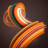 Orange twisted shape. Computer generated abstract geometric 3D render illustration Stock Photos