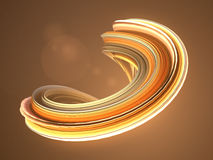 Orange twisted shape. Computer generated abstract geometric 3D render illustration Royalty Free Stock Photos