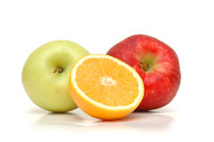 Orange and two apples. Isolated on white stock images