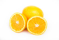 Orange and the two halves. One orange and the two halves on a white background Stock Photos