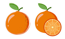 Orange. Two original drawing with a slice of orange Royalty Free Stock Images