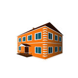 Orange two-storey detached house in perspective Stock Photography
