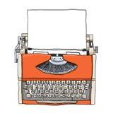 Orange Typewriter  with paper art illustration Royalty Free Stock Photo