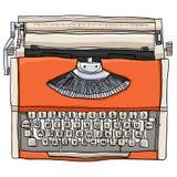Orange Typewriter vintage   illustration Stock Image
