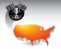 Orange U.S. icon with racing flags and trophy Stock Image
