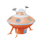 Orange UFO isolated on white background. 3d rendering Stock Photo