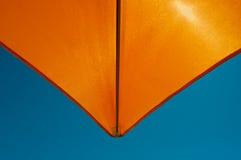 Orange umbrella. Close up bottom view of a orange beach umbrella Royalty Free Stock Photo