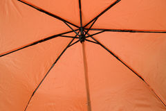 Orange Umbrella. From the underside royalty free stock photography
