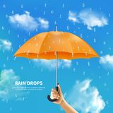 Orange Umbrella On Cloudy Sky Background. Rain drops realistic poster with people hand holding open orange umbrella on cloudy sky background vector illustration Stock Photo