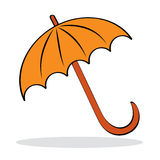 Orange umbrella with grey shadow Royalty Free Stock Photo
