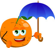 Orange with umbrella Royalty Free Stock Image
