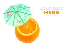 Orange and umbrellas. Isolated on a white background Stock Photo