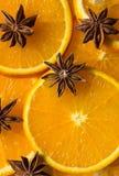 Orange und Anis spielen, Hälfte des orange, orange Läppchens die Hauptrolle Lizenzfreie Stockfotografie