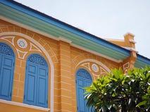 Orange und Blau des Weinlesehauses Stockbilder