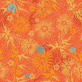 Orange und blaue Blumen des nahtlosen Blumenmusters Stockbilder