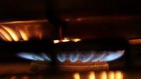 Orange und blaue Flammen eines Gasherds in der Dunkelheit stock footage