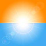 Orange und blauer sonniger Hintergrund Stockfotos