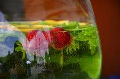 Orange und Carafe mit Zitrusfruchteiswasser Stockfotos