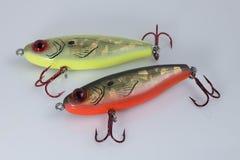 Orange und gelbe Fischenköder Stockfoto