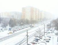 Orange und gelber Codeschnee Bukarests und Blizzard Stockfotografie
