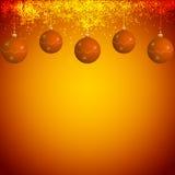 Orange und goldener Weihnachtshintergrund Lizenzfreie Abbildung