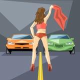 Orange und grünen Autos beim Anfang für ein Laufen Lizenzfreies Stockfoto