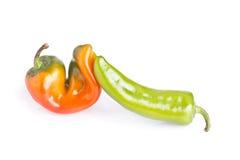 Orange und grüner Pfeffer lizenzfreie stockfotos