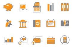 Orange und graues Ikonenset Lizenzfreie Stockfotografie