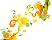 Orange und Limettensaft spritzen mit abstrakter Welle Lizenzfreie Stockfotos